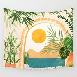 Villa View Tropical Landscape / Villa Series Wall Tapestry