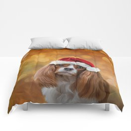 Drawing Dog breed Cavalier King Charles Spaniel  in red hat of Santa Claus Comforters