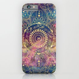 Gold watercolor and nebula mandala iPhone Case