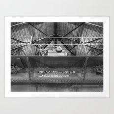 Gantry crane in black and white Art Print