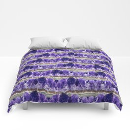 Purple Amethyst Geode Mountains Comforters