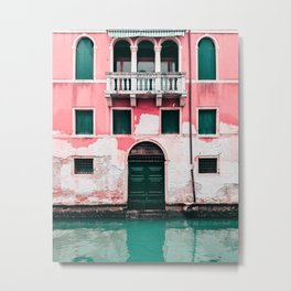 Pink Building in Venice Photography  Metal Print