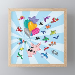 The Pig and The Parrots Framed Mini Art Print