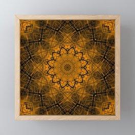 Black and yellowbrown kaleidoscope Framed Mini Art Print