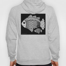 Fishies Zentangle Black and White Pen & Ink Hoody