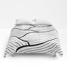 Abstract waves / black & white Comforters