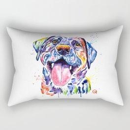 Black Lab Colorful Watercolor Pet Portrait Painting Rectangular Pillow