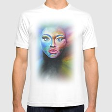 Psychedelic  MEDIUM White Mens Fitted Tee