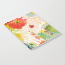 abstract floral art in yellow green and rose magenta colors Notebook