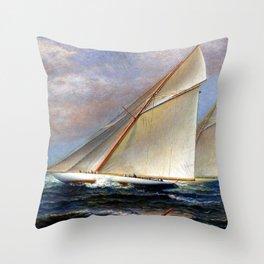 America's Cup schooner America Racing at Newport, Rhode Island by James Gale Tyler Throw Pillow
