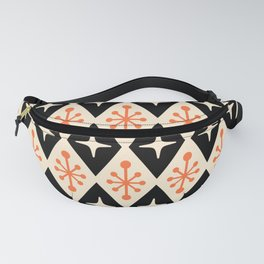 Mid Century Modern Atomic Triangle Pattern 922 Black and Orange Fanny Pack
