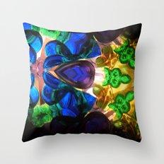 Kaleido: Blue, Green, Yellow Throw Pillow