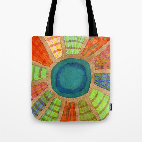 Blue radiating Sun Tote Bag