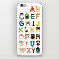 alphabet iPhone & iPod Skins featuring Muppet Alphabet by Mike Boon