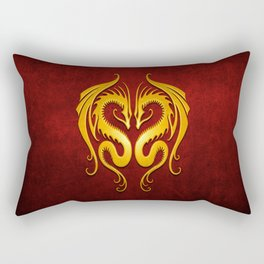 Yellow and Red Twin Tribal Dragons Rectangular Pillow