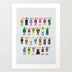 Pixel Superhero Alphabet 2 Art Print