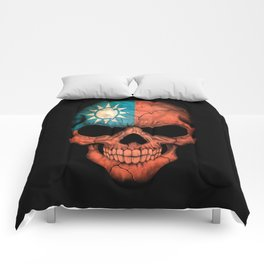 Dark Skull with Flag of Taiwan Comforters