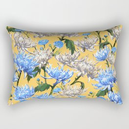 Mums Pattern  |  Yellow-Blue-Cream-White Rectangular Pillow