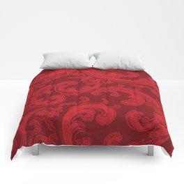 Retro Chic Swirl Flame Scarlet Comforters