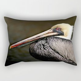 Brown Pelican Portrait Rectangular Pillow
