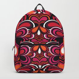 70s Retro Psychedelic pattern Pink Backpack