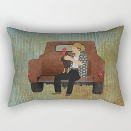 Rooster man and his pick up truck Rectangular Pillow