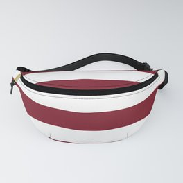 Deep Red Pear and White Wide Horizontal Cabana Tent Stripe Fanny Pack