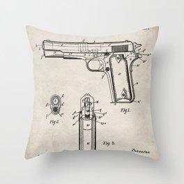 Colt Pistol Patent - Browning 1911 Colt Art - Antique Throw Pillow