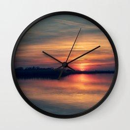 Peace and quiet at the lake Wall Clock
