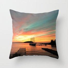 Autumn Sunrise Bar Harbor maine Throw Pillow