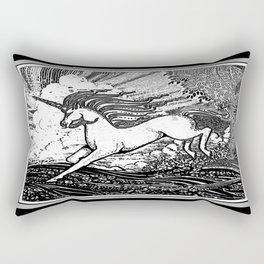 Mystic Running Unicorn In Meadow B&W Drawing Rectangular Pillow