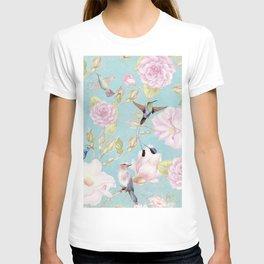 Pastel Teal Vintage Roses and Hummingbird Pattern T-shirt