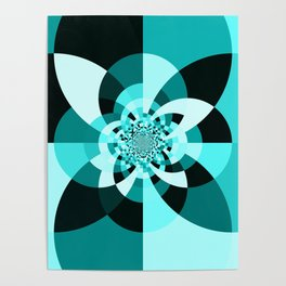 Aqua Kaleidscope Poster