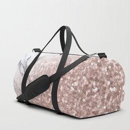 Blush Pink Sparkles on White and Gray Marble V Duffle Bag