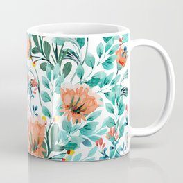 Tangerine Dreams, Orange & Mint Botanical Jungle Watercolor Painting, Colorful Plants Floral Summer Coffee Mug