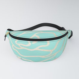 Flower in White Gold Sands on Tropical Sea Blue Fanny Pack