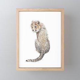 Watercolor Cheetah Painting Framed Mini Art Print