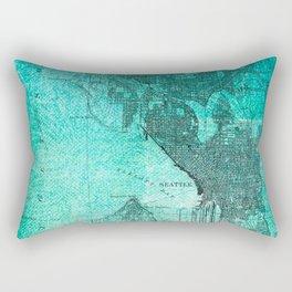 Turquoise Seattle Map Design Rectangular Pillow