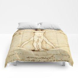 Vitruvian Man Drawing by Leonardo da Vinci Comforters