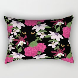 Cat in the flowers Rectangular Pillow