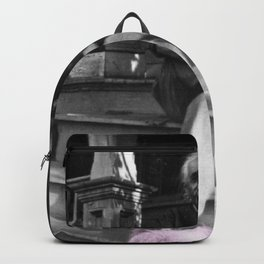 Albert Einstein in Fuzzy Pink Slippers Classic E = mc² Black and White Satirical Photography  Backpack