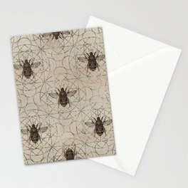 Bumble Bee  on sacred geometry pattern Stationery Cards