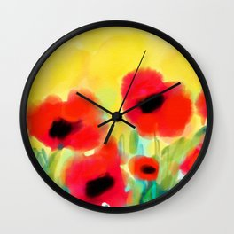 Red poppies - original design by ArtStudio29 - red flowers on yellow background Wall Clock