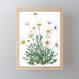 white Margaret daisy watercolor Framed Mini Art Print