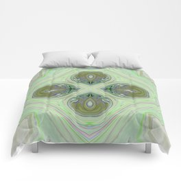 Minty Green and Pearl Diamond Abstract Comforters