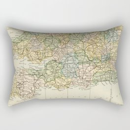 England and Wales Vintage Map Rectangular Pillow