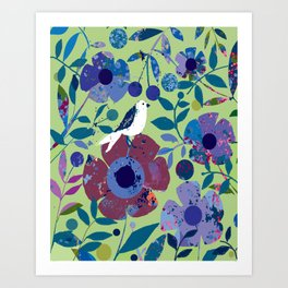 Gull With Flowers Art Print