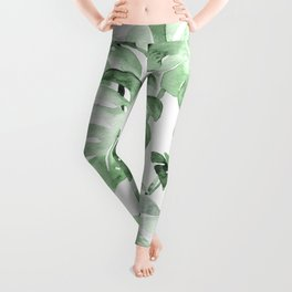 Delicate Monstera Green #society6 Leggings