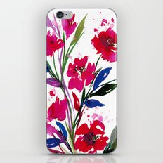 POCKETFUL OF POSIES 1, Colorful Summer Watercolor Floral Painting Abstract Red Blue Pink Flowers Art iPhone & iPod Skin