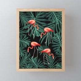 Summer Flamingo Jungle Night Vibes #2 #tropical #decor #art #society6 Framed Mini Art Print